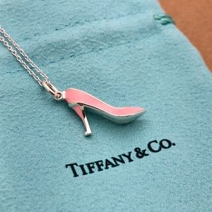 Tiffany & Co. Silver Pink High Heel Necklace